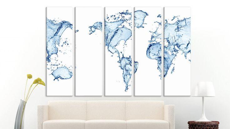 Large world map wall art 3 panel world map Framed map White world map Water world map Map of the world Wall canvas Map monde Wall decor map http://etsy.me/2oIPJvb #housewares #homedecor #white #office #housewarming #printingprintmaking #easter #framed #largeworldmap