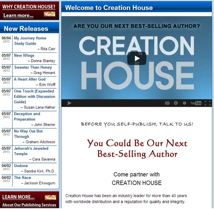 Listing on Creation House's homepage - http://www.creationhouse.com/