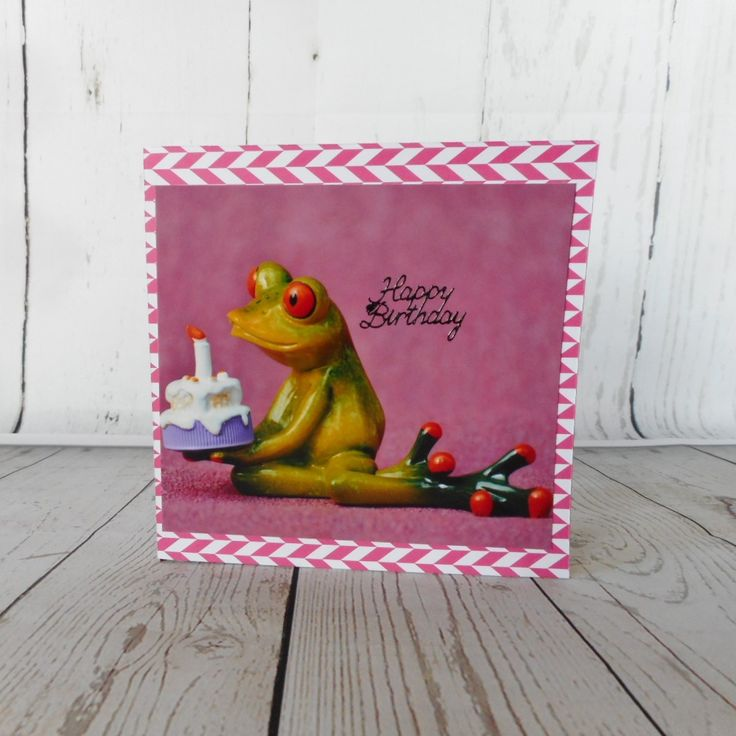 Quirky unisex birthday card with a frog, cake and candle.  Free postage