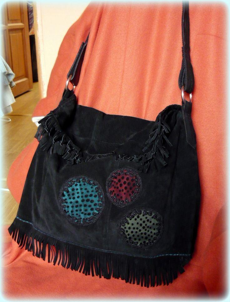 Handmade by Judy Majoros - Black leather fringe polka dots boho bag.  Recycled bag
