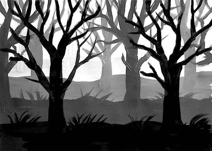 In classes of 7th Grade (12 year-old) we have painted a forest of trees without preliminary drawing, using directly the brushes and the acrylics paints on the white paper. To make the effect of t...