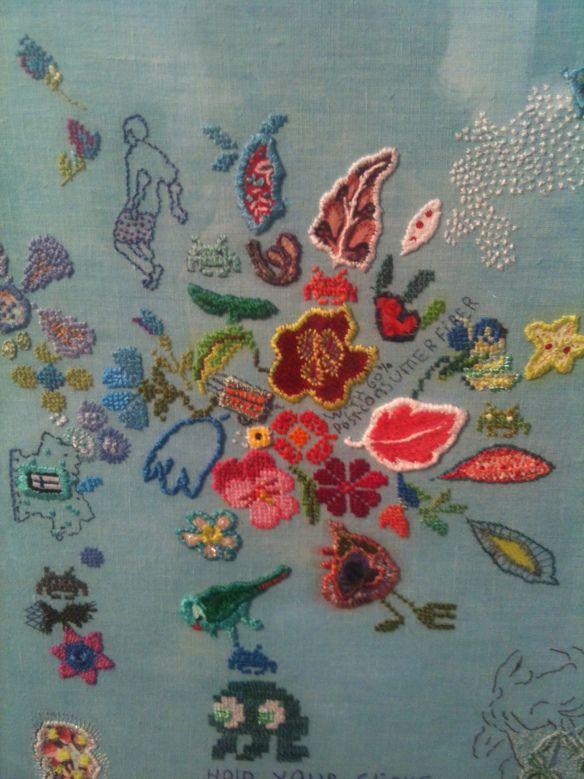 A mixture of embroiderey, textures, layering of images. Tilleke Schwarz