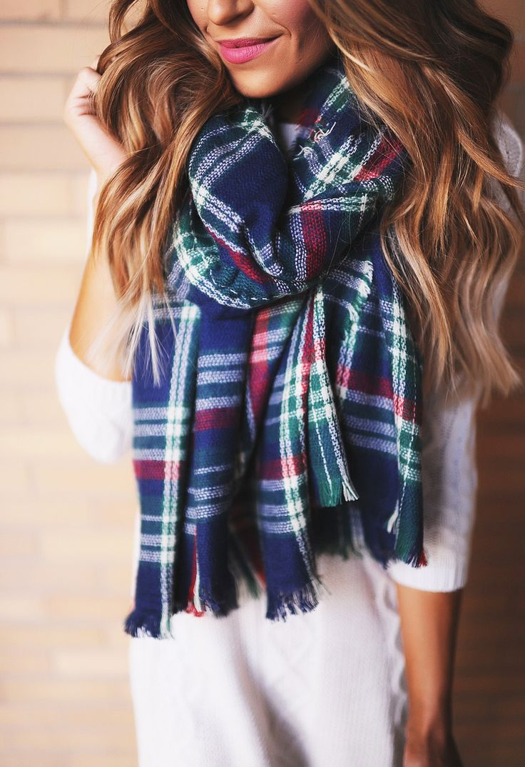 Plaid Shawl Scarf- Navy/Red/Green - Dottie Couture Boutique