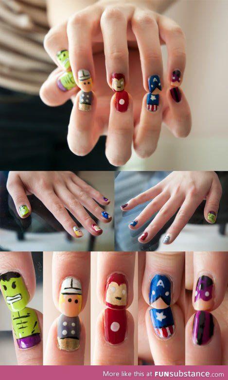 Short nails- avengers assemble! @Dana Curtis Curtis Curtis Curtis Broer :)