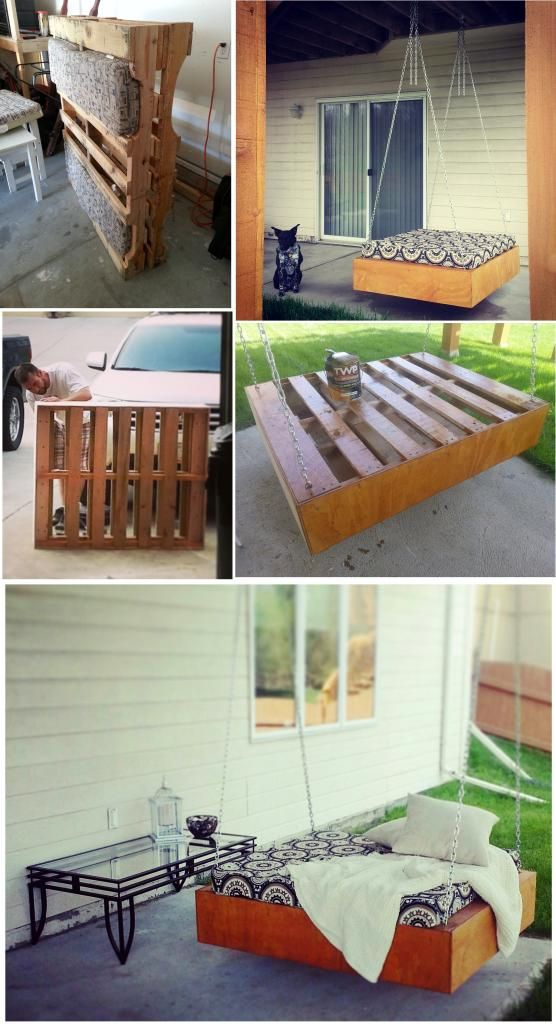 turn two wooden pallets into a patio swing bed!