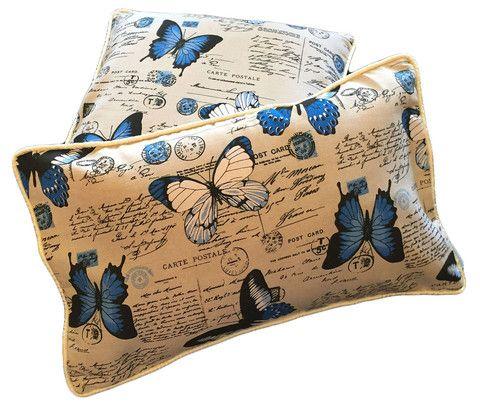 Butterfly cushion cover blue cream Vintage 50cm 40cm 30cm MARYEMMA DECOR - FREE POSTAGE IN AUSTRALIA