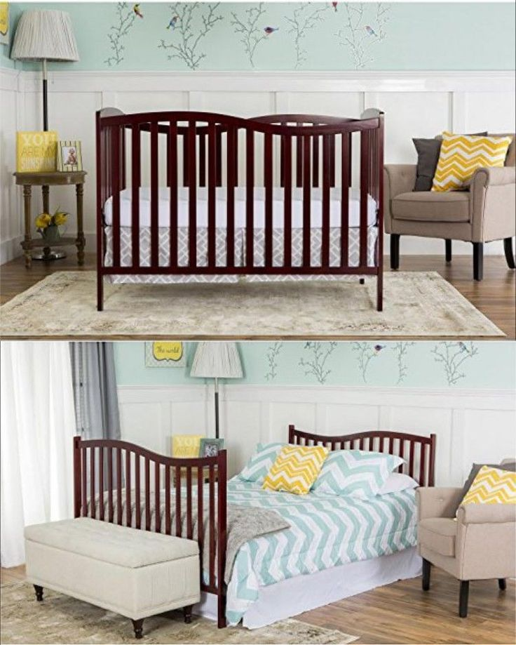 ICYMI: Convertible Baby Crib 5 In 1 Wood Furniture Daybed Full Toddler Nursery Bed Set