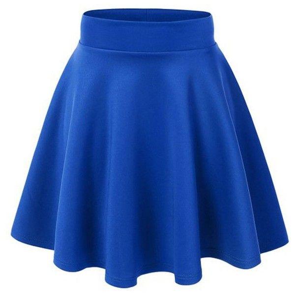ACEVOG Women's Stretch Waist Flared Skater Skirt Dress Mini Skirt 15... (£6.46) ❤ liked on Polyvore