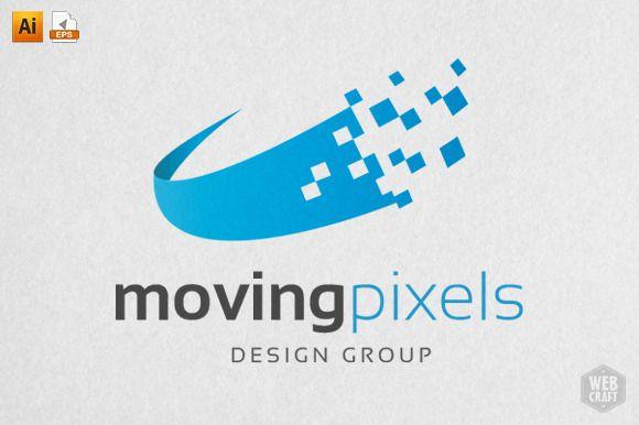 Moving Pixels Design Logo Template by WebCraft on Creative Market