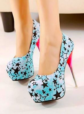 Sexy Adoral Floral Stars High Heel