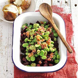 Recept - Bieten met tuinboontjes en spek - Allerhande