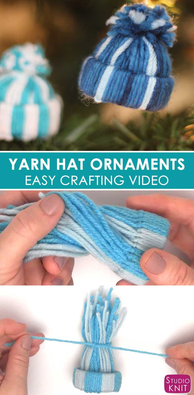 Yarn Hat Holiday Ornaments: Free Easy Craft Video Tutorial with Studio Knit #christmas #yarn #ornament via @StudioKnit