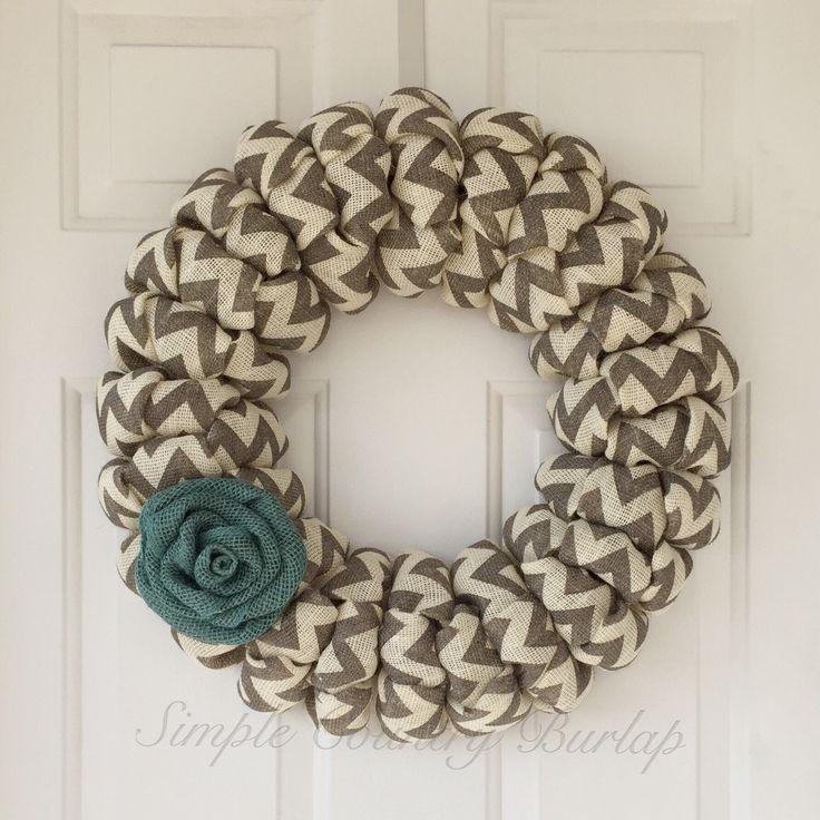 Spring burlap wreath, Grey and cream chevron burlap wreath, summer burlap wreath, teal rose chevron burlap wreath, rustic wreath, door decor by SimpleCountryBurlap on Etsy https://www.etsy.com/listing/188270394/spring-burlap-wreath-grey-and-cream