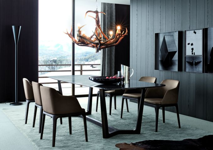 Poliform|Varenna_winter home_Concorde table in spessart oak and top in marble, Grace chairs in spessart oak and leather.