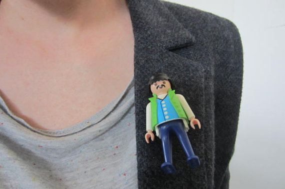 Playmobil borooch man with mustache wearing lime by GingerLab