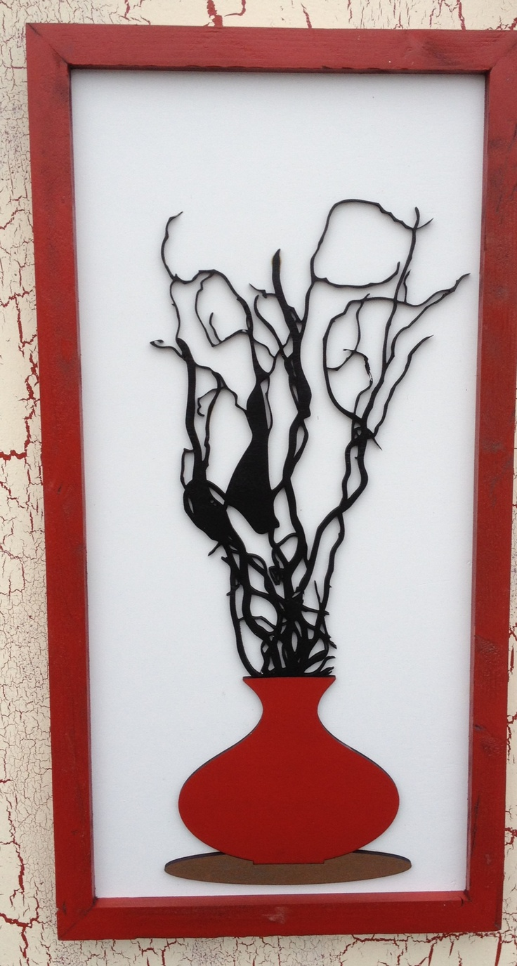 "Red Vase Wall Art. 12"" x 24"". $ 49.99"
