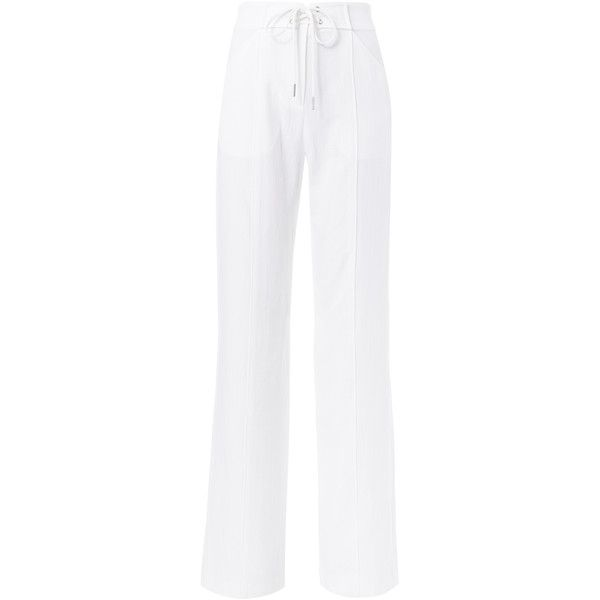 Archie Wide Leg Pants (8,800 MXN) ❤ liked on Polyvore featuring pants, white, zipper pants, high waisted trousers, high-waisted trousers, white pants and white wide leg pants