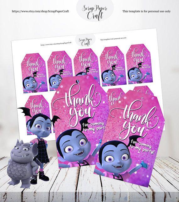 24 Disney Jr Vampirina Custom Stickers Label Bag Lollipop Birthday Party Favors