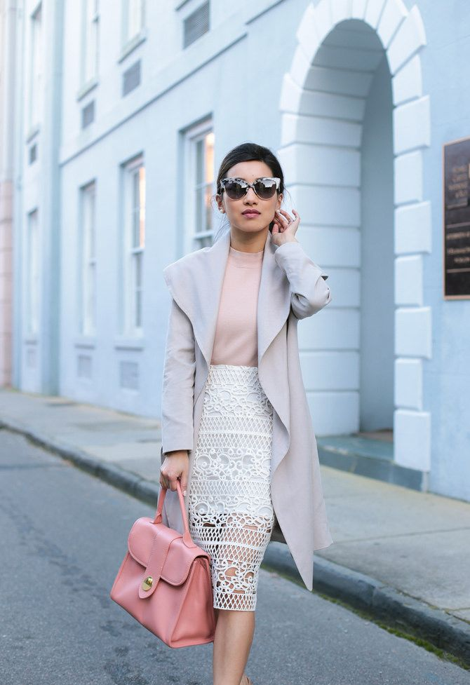 Draped trench coat with classic white lace pencil skirt // petite fashion blog