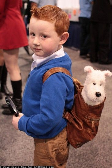 Adorable little kid dressed as TinTin. <3 Idea for megacon next year! Wyatt would look so cute as this