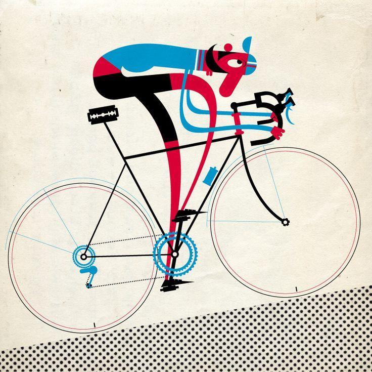 Retro Bicycle bike cycle sykkel bicicleta vélo bicicletta rad racer wheels illustration posters graphics design biking ride cycling riding