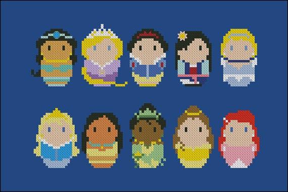 Disney storybook Princesses chibi - PDF  cross stitch pattern