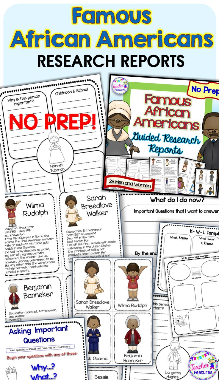 Differentiate easily with this no prep Famous African Americans resource has everything you need to get your students started on a guided research project. Use anytime or for Black History Month. #AfricanAmericans #BlackHistoryMonth #2ndGrade #SecondGrade #3rdGrade #ThirdGrade #TeacherFeatures #NoPrep #commoncorewriting #ELA #WritingActivities #Writing #WritingCenter #LiteracyCenter #Research #WritingReports #GraphicOrganizers  #commoncore #HarrietTubman #RosaParks #MartinLutherKingJr #Obama