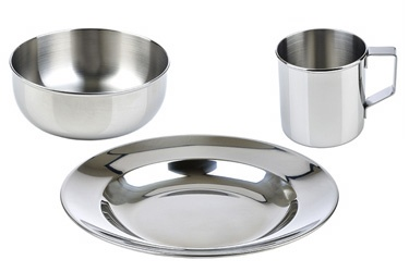 "Stainless Steel Dish Set: Made of 18/8 stainless steel, the set includes an 8""plate, 5"" bowl and 8 oz mug. $25"