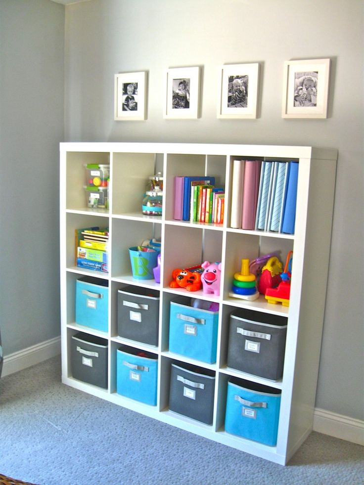 Charming Kid Bedroom Design And Decoration With Various Ikea Kid Shelf : Delightful Furniture For Kid Bedroom Decoration Using Light Grey Kid Bedroom Wall Paint Including White Wood Ikea Kid Shelf And Light Grey And Blue Kid Hamper