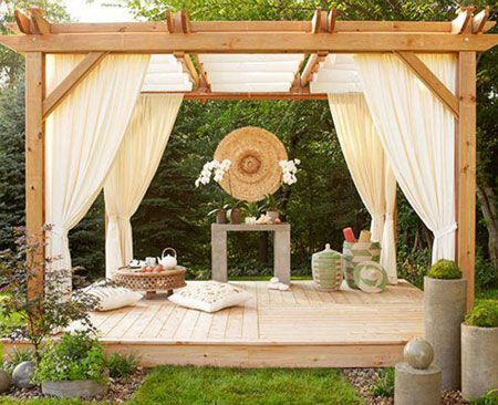 This relaxing retreat can be built in just two weekends and decorated for solitude or socializing. -- Lowe's Creative Ideas