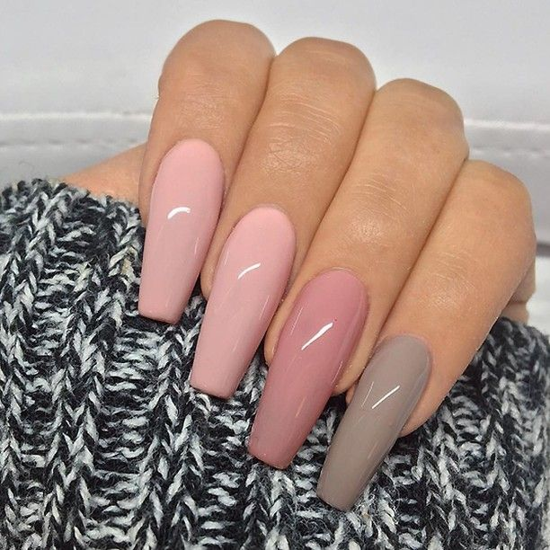 """5,422 Likes, 20 Comments - TheGlitterNail  Get inspired! (@theglitternail) on Instagram: """"✨REPOST - - • - - Soft Pink, Rose Pink and Taupe on long Coffin Nails  - - • - -  Picture and…"""""""
