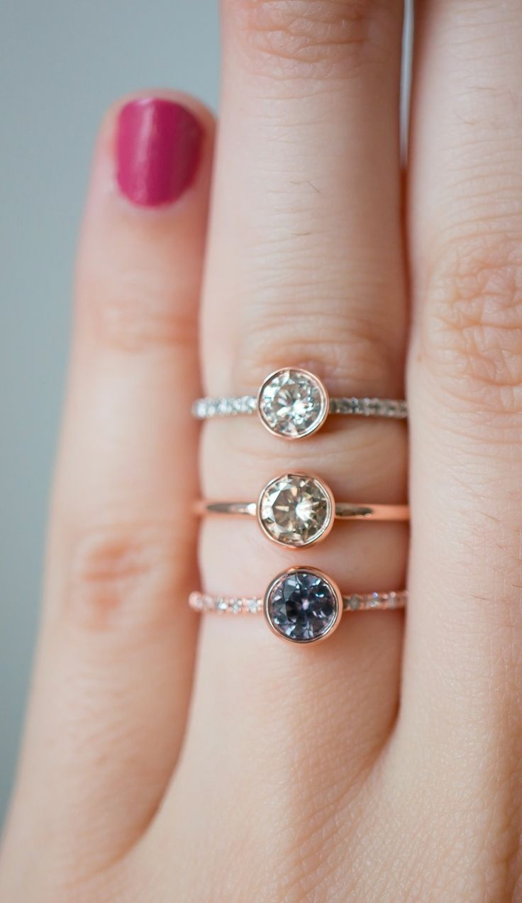Unique bezel engagement rings by S. Kind & Co with reclaimed diamonds and sapphires.  See more here: http://skind.nyc/collections/handcrafted-one-of-a-kind-treasures-ready-to-ship/