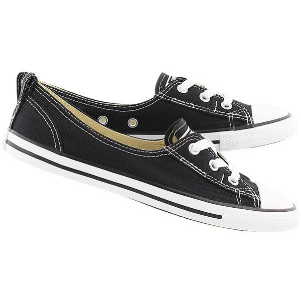 Converse Women's CT ALL STAR BALLET LACE black slip-ons ($55) ❤ liked on Polyvore featuring shoes, flats, black slip-on shoes, black ballet flats, ballerina shoes, ballerina flats and black flats