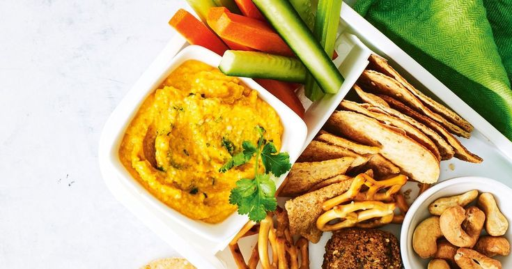 Keep the kids happy with our bento box filled with falafel and pumpkin cashew dip.