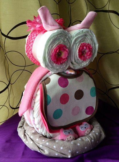 owl baby diaper cake for girl.