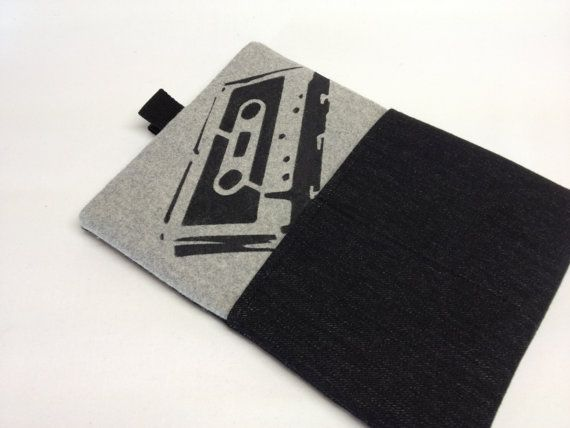 Mens' ipad or Tablet Slipcover/Sleeve in Felted Wool with retro stencil print by QuiltyCo, $30.00