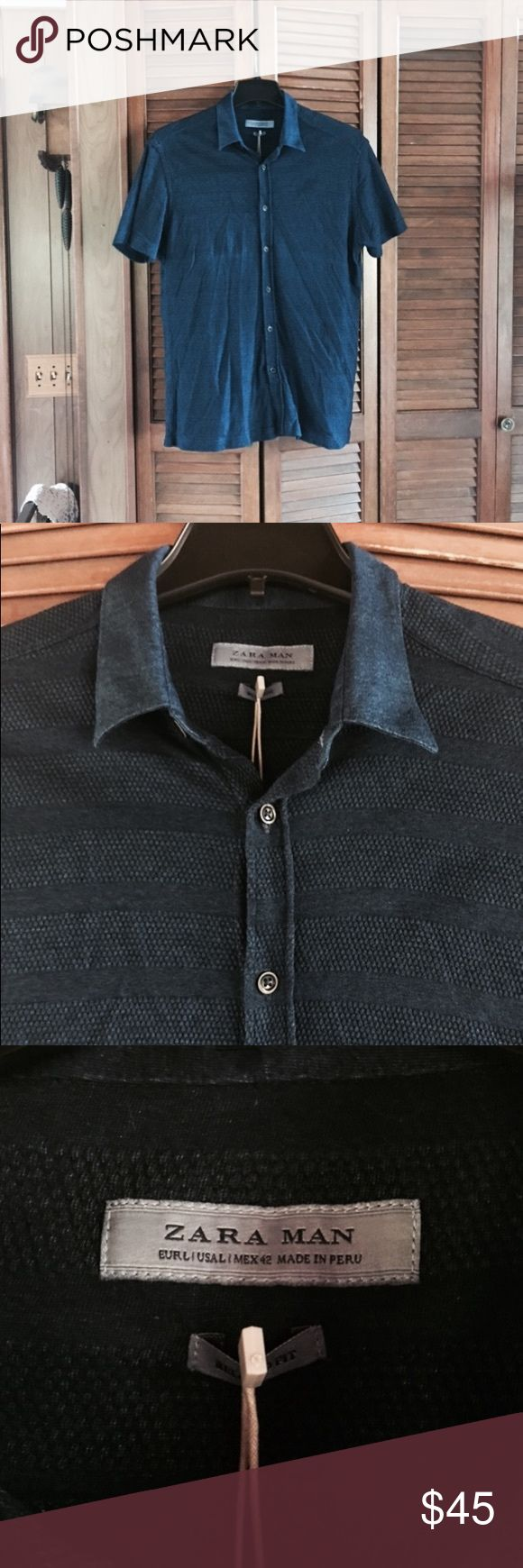 SALEZara Polo Collar Shirt Zara men's size L polo collar blue button-down shirt. Brand new with tags. NWT. Zara Shirts Polos