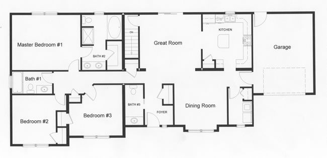 Ranch Style Homes Floor Plans Left Side Of The Home Provide Privacy In This Open Floor