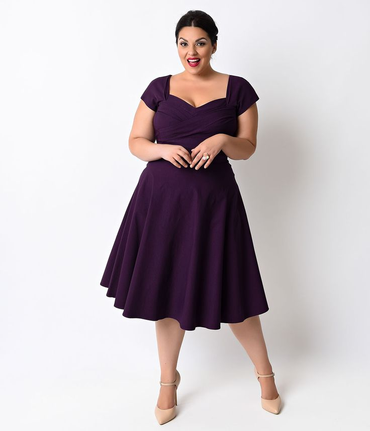Stop Staring Plus Size Mad Style Eggplant Cap Sleeve Swing Dress $166.00 AT vintagedancer.com