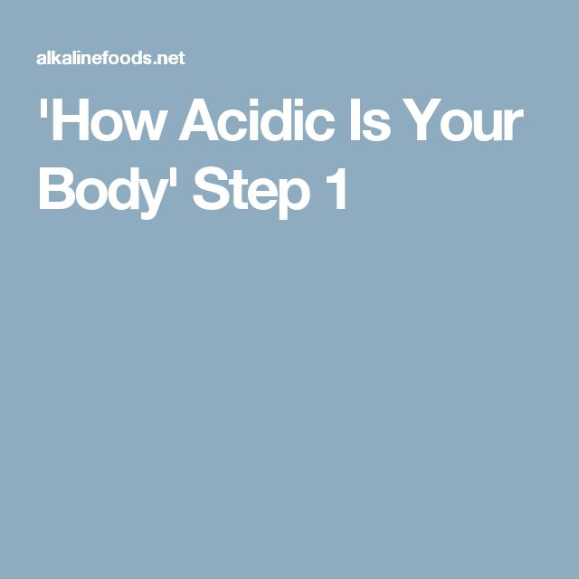 'How Acidic Is Your Body' Step 1