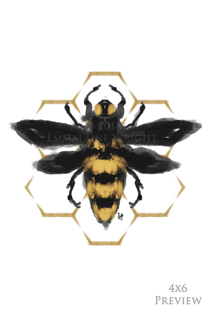 ABEILLE, Geometric Bee ArtPrint| Honey Bumblebee Decor| Hexagon Bug Design| Gold/ Black Watercolor Insect Illustration| Gifts for Him or Her by EmmalaineWright on Etsy https://www.etsy.com/listing/269911398/abeille-geometric-bee-artprint-honey