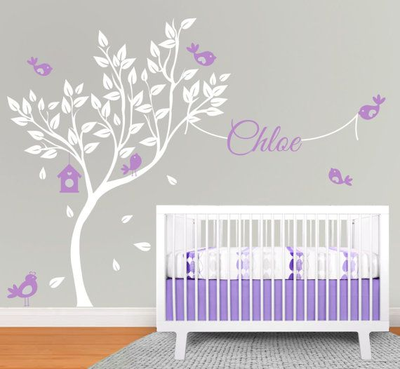 Nursery Decal, Elegant Large Tree And Birds With Name, Birds U0026 Bird House, Nursery  Tree Decal, Tree Decal, Birds Decal, Kids Room Decal