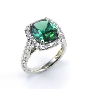 New in stock: platinum & diamonds handcrafted ring, featuring a cushion cut green tourmaline of 3.01 carat. #Coloured #Gemstones #Tourmaline #Jewellery