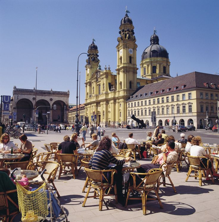 Odeonsplatz is a pedestrian square in Munich's central old town surrounded by historical buildings.  Grab a cup of coffee and just sit around to soak in the history and culture of Munich. Image Courtesy : München Tourismus  #Munich #Travel
