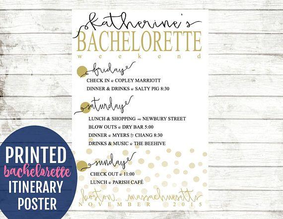 Confetti Bachelorette Itinerary Poster. Destination Bachelorette Party Decorations Personalized Hen Party Keepsake. Bach Weekend Agenda Sign