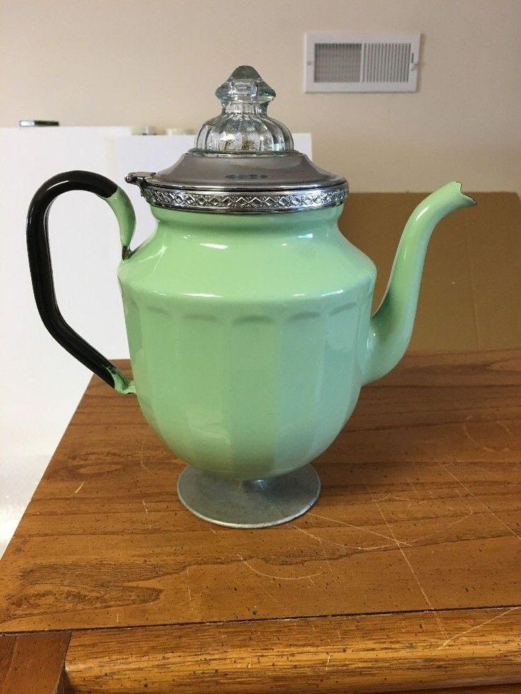 Vntg Enamel Granite Ware Jadeite Coffee Pot Percolator Glass Fire King Top