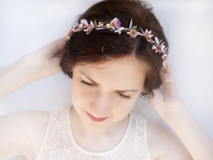 Lavendel Blume Krone Blume lila Haare, lila Stirnband, Brautjungfer Stirnband, lila Hochzeit, floralen Kopfschmuck, Blume Haar Rebe