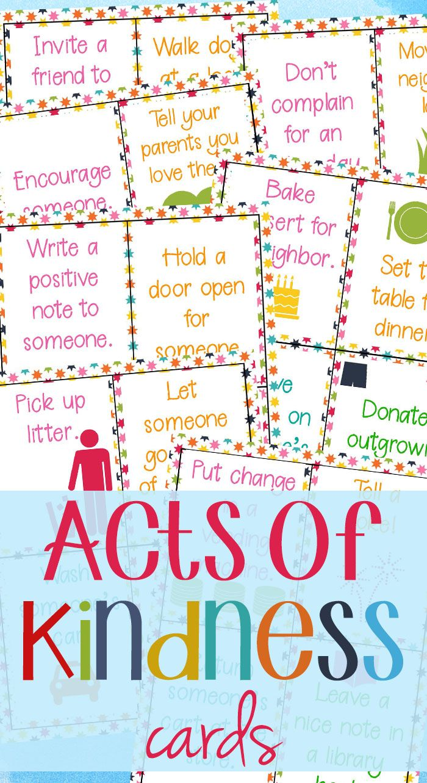 64 Random Acts Of Kindness Cards For Kids Natural Beach Living Kindness For Kids Kindness Activities Kindness Challenge