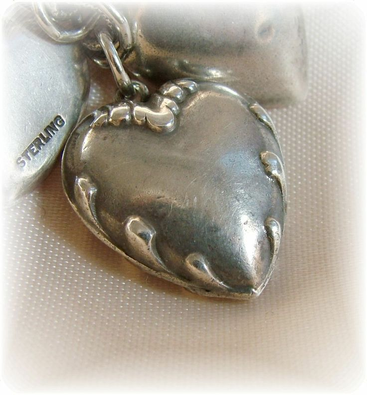 Vintage sterling silver puffy heart charm scroll edge double sided