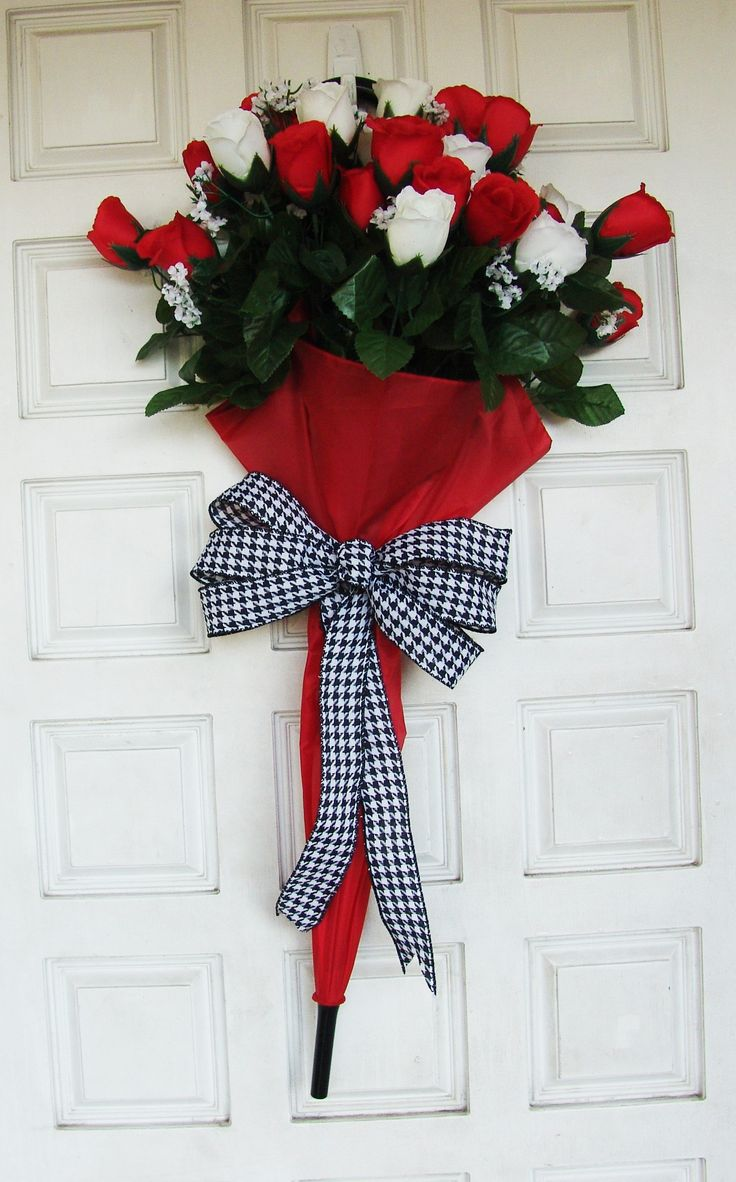 Red White Roses floral bouquet Umbrella Front Door Wreath, Valentines Day